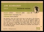 1961 Fleer #113  Jim Schrader  Back Thumbnail