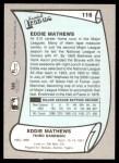 1989 Pacific Legends #116  Eddie Mathews  Back Thumbnail