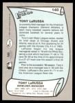 1989 Pacific Legends #140  Tony La Russa  Back Thumbnail