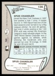 1989 Pacific Legends #136  Spud Chandler  Back Thumbnail