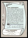 1989 Pacific Legends #195  Hank Greenberg  Back Thumbnail
