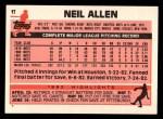 1983 Topps Traded #1 T Neil Allen  Back Thumbnail