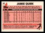 1983 Topps Traded #90 T Jamie Quirk  Back Thumbnail