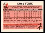 1983 Topps Traded #113 T Dave Tobik  Back Thumbnail