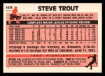 1983 Topps Traded #117 T Steve Trout  Back Thumbnail