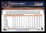 2015 Topps Update #107  Carlos Gomez  Back Thumbnail