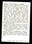 1950 Callahan Hall of Fame B Paul Waner  Back Thumbnail