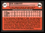 1989 Topps Traded #2 T Jim Abbott  Back Thumbnail