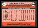 1989 Topps Traded #9 T Todd Benzinger  Back Thumbnail