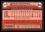 1989 Topps Traded #30 T Alvaro Espinoza  Back Thumbnail