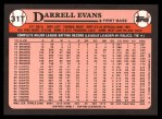 1989 Topps Traded #31 T Darrell Evans  Back Thumbnail