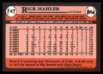 1989 Topps Traded #74 T Rick Mahler  Back Thumbnail
