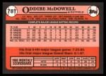 1989 Topps Traded #78 T Oddibe McDowell  Back Thumbnail