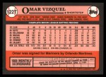 1989 Topps Traded #122 T Omar Vizquel  Back Thumbnail