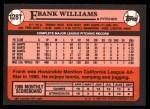 1989 Topps Traded #128 T Frank Williams  Back Thumbnail