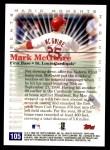 2000 Topps Opening Day #105   -  Mark McGwire Magic Moments Back Thumbnail