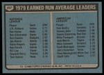 1980 Topps #207   -   J.R. Richard / Ron Guidry ERA Leaders  Back Thumbnail