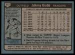 1980 Topps #313  Johnny Grubb  Back Thumbnail