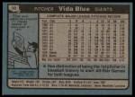 1980 Topps #30  Vida Blue  Back Thumbnail