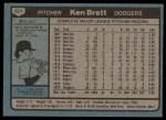 1980 Topps #521  Ken Brett  Back Thumbnail