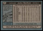 1980 Topps #547  John Wathan  Back Thumbnail
