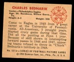1950 Bowman #132  Chuck Bednarik  Back Thumbnail