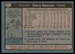 1980 Topps #61  Gary Serum  Back Thumbnail