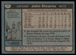 1980 Topps #76  John Stearns  Back Thumbnail