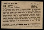 1952 Bowman Small #134  Chuck Ulrich  Back Thumbnail