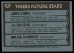 1980 Topps #666   -  Mike Chris / Al Greene / Bruce Robbins  Tigers Rookies Back Thumbnail