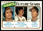1980 Topps #686   -  Greg Johnston / Dennis Littlejohn / Phil Nastu  Giants Rookies Front Thumbnail