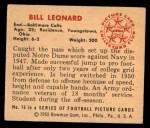 1950 Bowman #76  Bill Leonard  Back Thumbnail