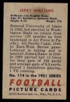 1951 Bowman #114  Jerry Williams  Back Thumbnail