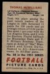 1951 Bowman #58  Tom McWilliams  Back Thumbnail