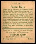 1933 Goudey Indian Gum #197   Puritan Days  Back Thumbnail