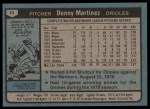 1980 Topps #10  Dennis Martinez  Back Thumbnail