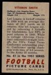 1951 Bowman #41  Vitamin Smith  Back Thumbnail