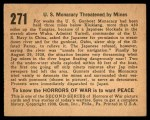 1938 Gum Inc. Horrors of War #271   U.S. Monacacy Threatened by Mines Back Thumbnail