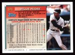1994 Topps #574  Willie McGee  Back Thumbnail