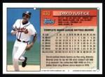 1994 Topps #630  David Justice  Back Thumbnail