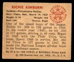1950 Bowman #84  Richie Ashburn  Back Thumbnail