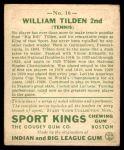 1933 Goudey Sport Kings #16  William Tilden   Back Thumbnail