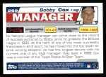 2004 Topps #269  Bobby Cox  Back Thumbnail