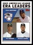 2004 Topps #341   -  Pedro Martinez / Tim Hudson / Esteban Loaiza AL ERA Leaders Front Thumbnail