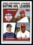 2004 Topps #343   -  Albert Pujols / Todd Helton / Edgar Renteria NL Batting Leaders Front Thumbnail