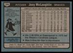 1980 Topps #384  Joey McLaughlin   Back Thumbnail
