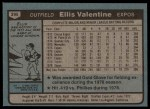 1980 Topps #395  Ellis Valentine  Back Thumbnail