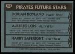 1980 Topps #683   -  Dorian Boyland / Alberto Lois / Harry Saferight  Pirates Rookies Back Thumbnail