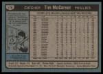 1980 Topps #178  Tim McCarver  Back Thumbnail