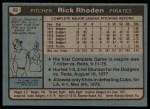 1980 Topps #92  Rick Rhoden  Back Thumbnail